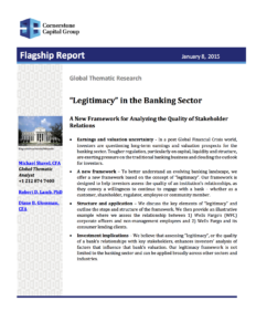 Legitimacy in the Banking Sector: A New Framework for Analyzing the Quality of Stakeholder Relations (with Michael Shavel and Diane B. Glossman), Cornerstone Report